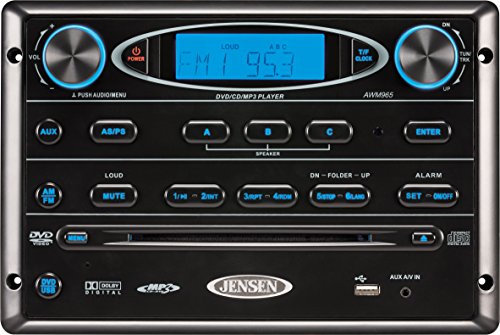Jensen AWM965 AM/FM|CD|DVD|MP3/USB Wallmount Stereo with DVD Player, Front USB Supports MP3, WMA, JPEG Formats, Remote Control Included, 12 Volt