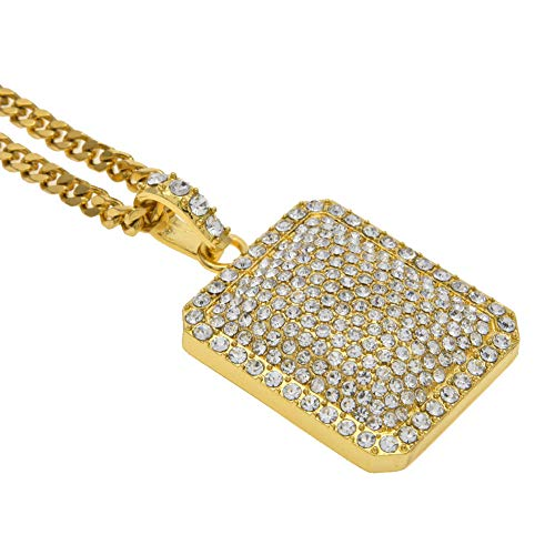 Full Diamond Dog Tag Necklace,Men Personalized Iced Out Covered Dog Tag Pendant Necklace Boys Hip Hop Bling Rectangle Dog Tag Necklace Men Rock Jewelry Gold/Silver Plated,24″/28″ Chain (Gold, L)