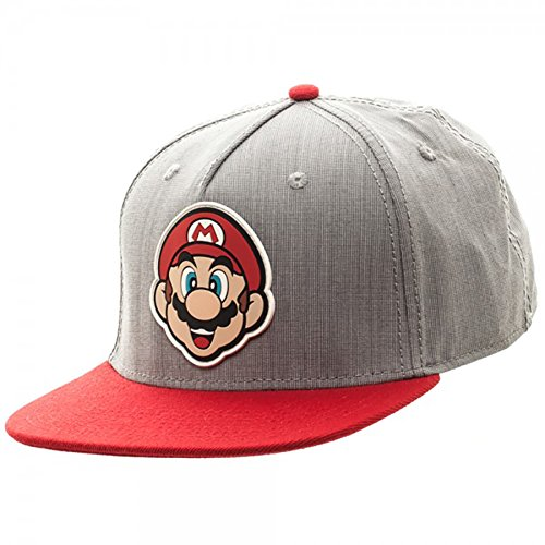 [Nintendo Mario Logo Face Rubber Sonic Weld Snapback Hat] (One Up Mushroom Costume)