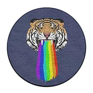 Puffy Tigre Spit Rainbow Alfombra de Suelo Redondo Doormats para Comedor Dormitorio Cocina Baño Balcón