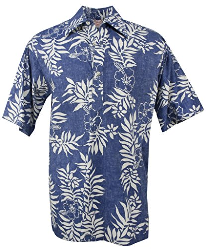 Go Barefoot Mini (Go Barefoot Mini Tahitian - Men's Hawaiian Reversed Print Pullover Aloha Shirt - in Blue-White - X-Large)