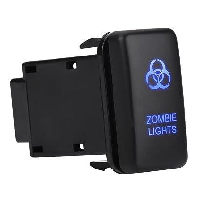 Car Rocker Switch ON-OFF LED Light Switch, Keenso 12V Blue LED Car Auto On  Off Rocker Toggle Switch for Toyota Hilux Landcruiser VIGO(ZOMBIE LIGHTS)