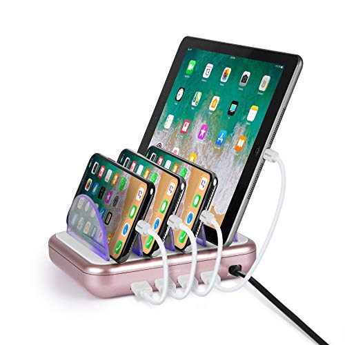 Merkury Innovations 4.8 Amp 4-Port USB Charging Station Fast Charge Docking Station for Multiple Devices - Multi Device Charger Organizer - Compatible w Apple iPad iPhone and Android,White/Rose Gold
