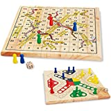 Snake and Ladder Ludo and Flying Chess 2 in 1 Natural Wooden Game