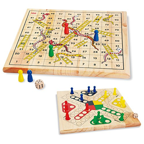 KidUS Snakes and Ladders Ludo Board Game Wooden Play Toys