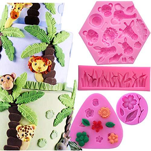 Animal Jungle World Fondant Cake Mold, Elephant Lion Giraffe Monkey Animal Forest Cake Decoration Candy Making Mold Grass Shape Silicone Mold Fondant Mold