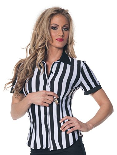 [Underwraps Women's Referee Fitted Shirt, Black/White, Large] (Woman Referee Costume)