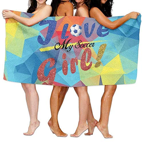 JHDHVRFRr Beach Towel I Love My Soccer Girl Soccer Mom Soccer Heart 31 X 51 Soft Lightweight Absorbent for Bath Swimming Pool Yoga Pilates Picnic Blanket Towels by JHDHVRFRr