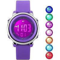 Kid Watch Multi Function 50M Waterproof Sport LED Alarm Stopwatch Digital Child Wristwatch for Boy Girl Purple