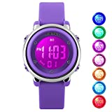 Kid Watch Multi Function 50M Waterproof Sport LED Alarm Stopwatch Digital Child Wristwatch for Boy Girl Purple
