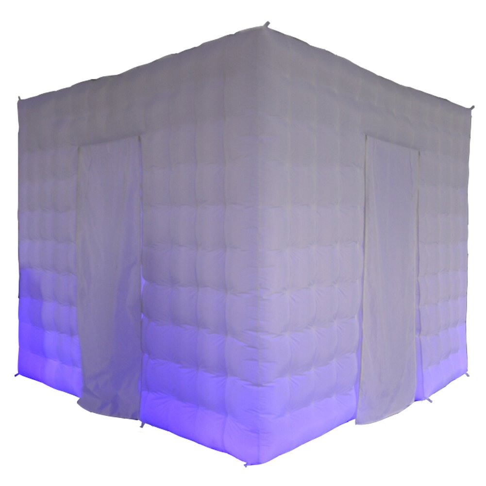 Inflatable Portable Photo Booth Enclosure 9.84x9.84x7.87 feet 17 Colors LED Changing Lights for Weddings Parties Events Promotions Advertising by Sayok