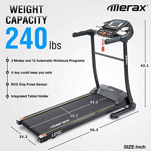Merax Folding Electric Treadmill Motorized Running Machine Easy Assembly Electric Treadmills for Home, 12 Programs with Transporation Wheels
