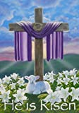 """He Is Risen!"" Christ the Lord Garden Flag Cross Lamb"
