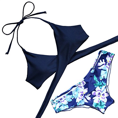 SUMEI Women Padded Bikini Color Printing Sets Beach Tankini Two Pieces Swimsuits for Swimming,Summer & Pool Party (X-Large, BLUE)