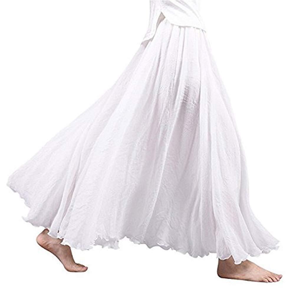 """Asher Women's Bohemian Style Elastic Waist Band Cotton Linen Long Maxi Skirt Dress Waist 23.0""""-35.0"""""""