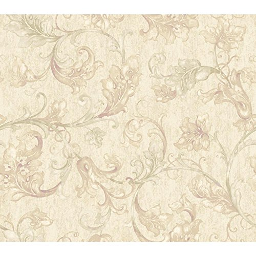 - York Wallcoverings EP6166 Acanthus Leaf Trail Wallpaper, Pearlescent Cream, Beige, Palest Green