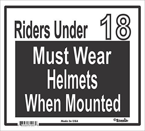 Riders under 18 Must Wear Helmets - Large Barn Sign