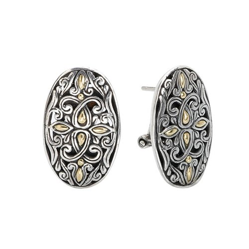 925 Silver Filigree Swirl Earrings with 18k Gold Accents