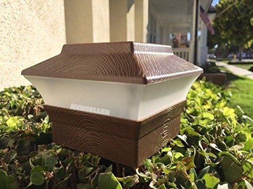 Solar Power Square LED Fence Post Light for 4x4 PVC Posts (Wood Grain)