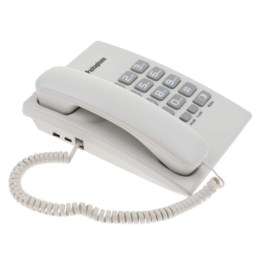 SM SunniMix Hanging Wired Telephone Landline Phone with Mute, Redial, Pause, for Home Office Hotel Phone Dual Port White