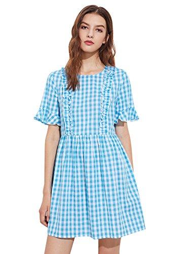 MakeMeChic Womens Loose Ruffle Short Sleeve Gingham Babydoll Dress
