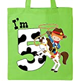 Inktastic - I'm Five-cowboy riding horse birthday Tote Bag Lime Green 2c9d3
