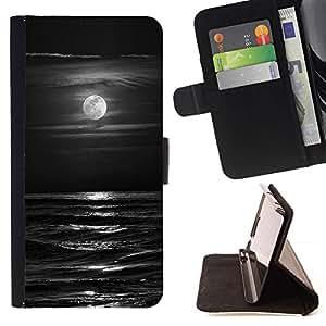 Momo Phone Case / Flip Funda de Cuero Case Cover - Olas Negro Blanco Luna de la noche - HTC Desire 820