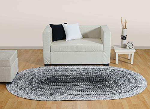 Aztocratic Arizona Granite Collection, Fully Reversible Oval Braided Rug Hand Woven Area Rugs 100% Cotton Carpet for Bedroom Living Room High Traffic Areas (5X8 Feets Oval, Black and White) ()