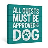 SUMGAR Turquoise Wall Art Funny Dog Quotes Wall Decor White Artwork Gifts for Dog Owners,12x12inch