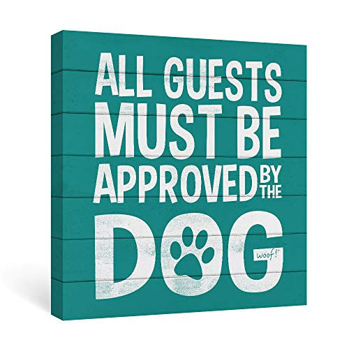 SUMGAR Turquoise Wall Art Funny Dog Quotes Wall Decor White Artwork Gifts for Dog ()