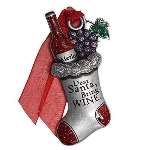 Gloria Duchin Pewter Wine Stocking Christmas Ornament, Multicolor
