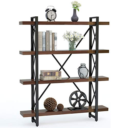 "LITTLE TREE 47.24""L Solid Wood 4-Tier Shelf Bookcase, Vintage Industrial Wood & Metal Book Shelves for Home and Office Organizer Bookshelf, Retro Brown"