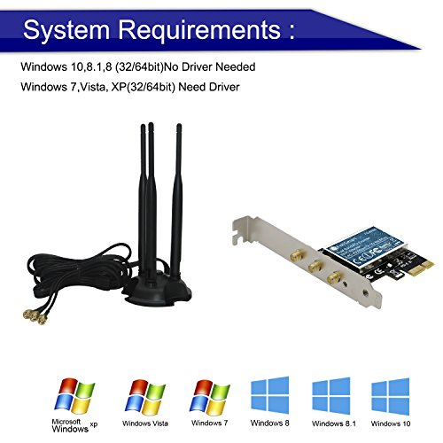 FebSmart Wireless Dual Band N900 (2.4GHz 450Mbps or 5GHz 450Mbps) PCI Express (PCIe) Wi-Fi Adapter Network Card with 18dBi Antenna Kit for Desktop Computers (FS-N900 Pro Edition) by FebSmart (Image #3)