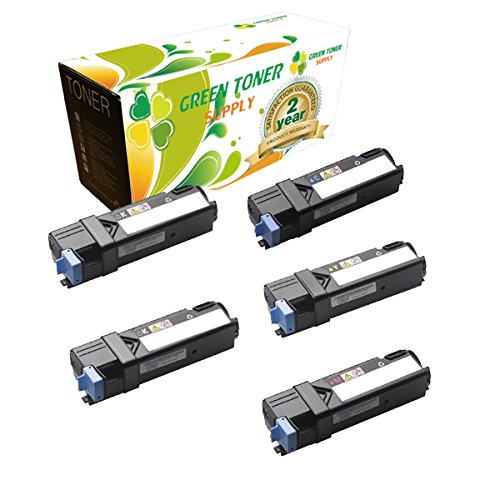 Green Toner SupplyTM Compatible Toner Cartridge Replacement for Dell 2135 (2 Black, 1 Cyan, 1 Yellow, 1 Magenta, 5-Pack) ()