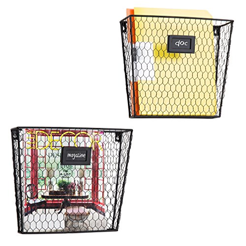 MyGift Rustic Chicken Wire Wall-Mounted Magazine & File Folder Baskets w/Chalkboard Label Inserts, Set of 2 ()