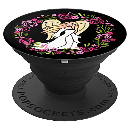 Angel Pink Flowered Wreath Angel Design Divine Angel - PopSockets Grip and Stand for Phones and Tablets