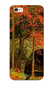 Hard Plastic Iphone 6 Plus Case Back Cover, Hot Nature Road Leaves Trees Forest Park Bridge Colorful Path Autumn Case For Christmas's Perfect Gift