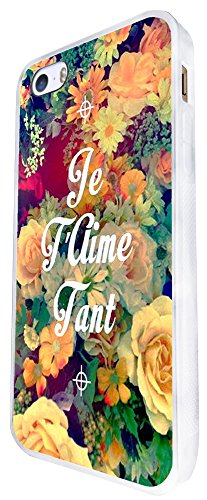 630 - Floral Shabby Chic Roses Je T'Aime Tant I Love You Design iphone SE - 2016 Coque Fashion Trend Case Coque Protection Cover plastique et métal - Blanc