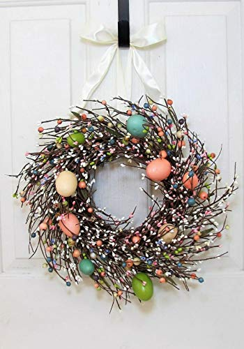 (Mikash Easter Egg Berry Wreath - Spring Candle Ring - Condo Door | Model WRTH - 692)