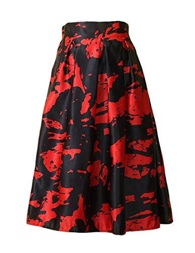 MFrannie Women Side Zip Lining Print Mid A-Line Full Pleated Skirt Red