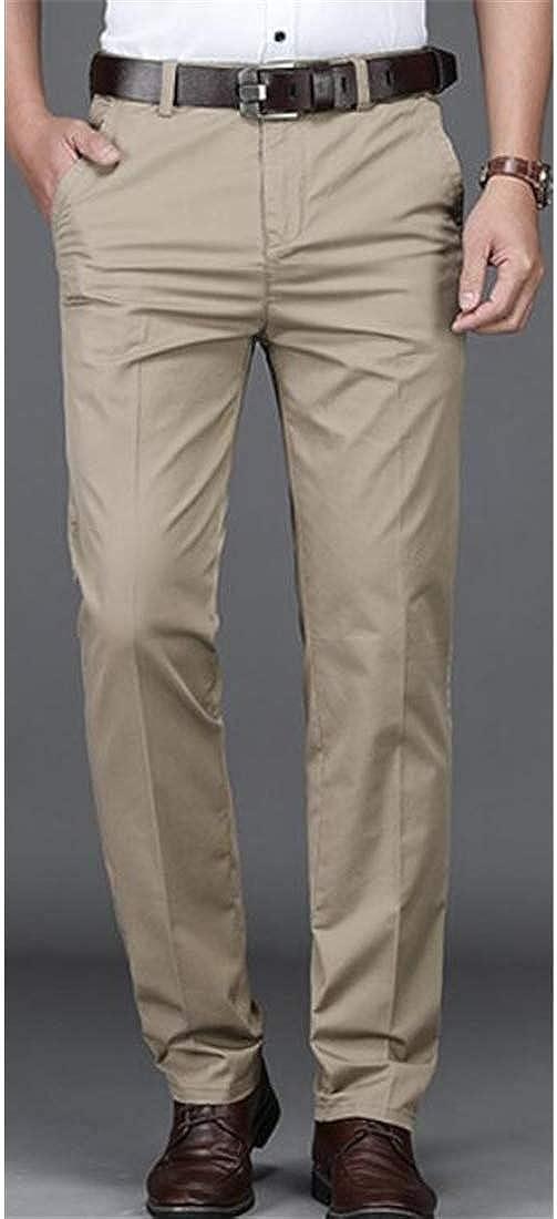 Sweatwater Men Plain Front Business Casual Slim Straight Fit Dress Pants