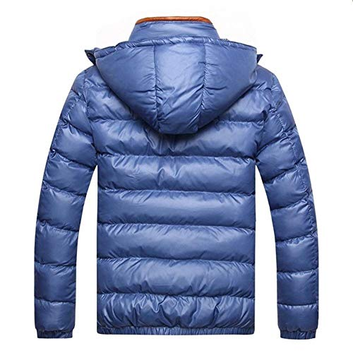 Transition Outwear Outdoor Thickened Winter Casual Solid Mens Jacket Parka Coat Fashion Quilted Warm Hooded Apparel Jacket Blau Color vaZw8xqp