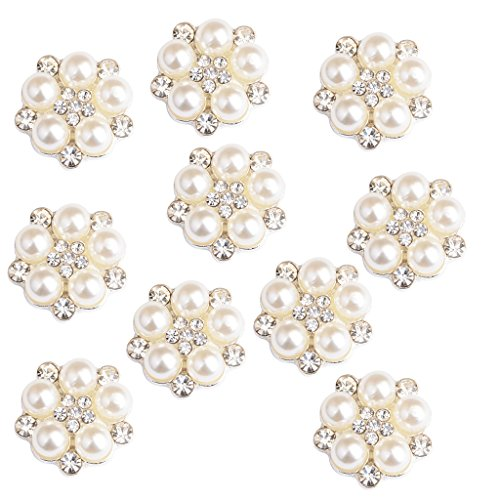 MagiDeal 10 Pieces Crystal Rhinestone Flower Embellishments Button Flatback Appliques for Wedding Phone Craft Bag Shoes Hair Accessories - (Pearl Flower Button)