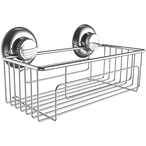 Gecko-Loc Shampoo Conditioner Holder Shower Caddy Stainless Steel with Suction Cup Deep Storage Basket and Shelf - Chrome