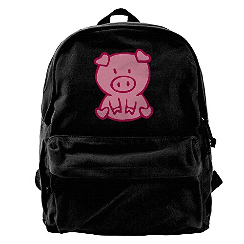 Unisex Cute Pig Canvas Backpack