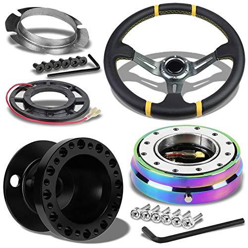 "Gunmetal Slit Holes Spoke 3.5"" Deep Dish Steering Wheel U043+Horn+Black Hub+Neo Chrome Quick Release Works with 90-03 Mitsubishi Eclipse/88-04 Lancer"