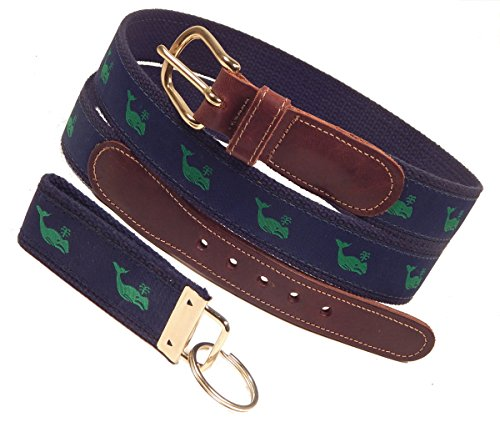 (Preston Leather Green Whale Belt, Navy, Sizes 30 to 50, FREE Matching Key Ring (Size 34))