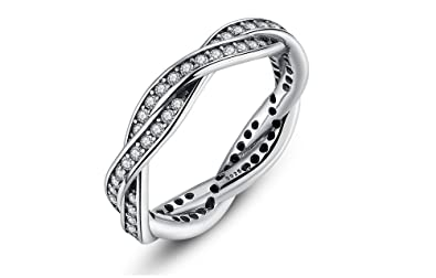 Dixey Luxury Anillos de Plata Zirconia Studded Finger Ring for Women (6) RI0020