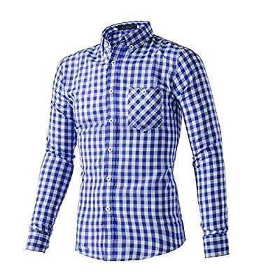 XI PENG Men's Casual Dress Plaid Tartan Gingham Long Sleeve Fitted Button Up Shirts