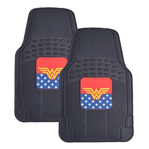 BDK Wonder Woman Rubber Car Floor Mats - 2pc Front Floor Protectors